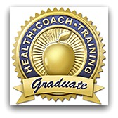 Health Coach Graduation badge in gold and dark grey